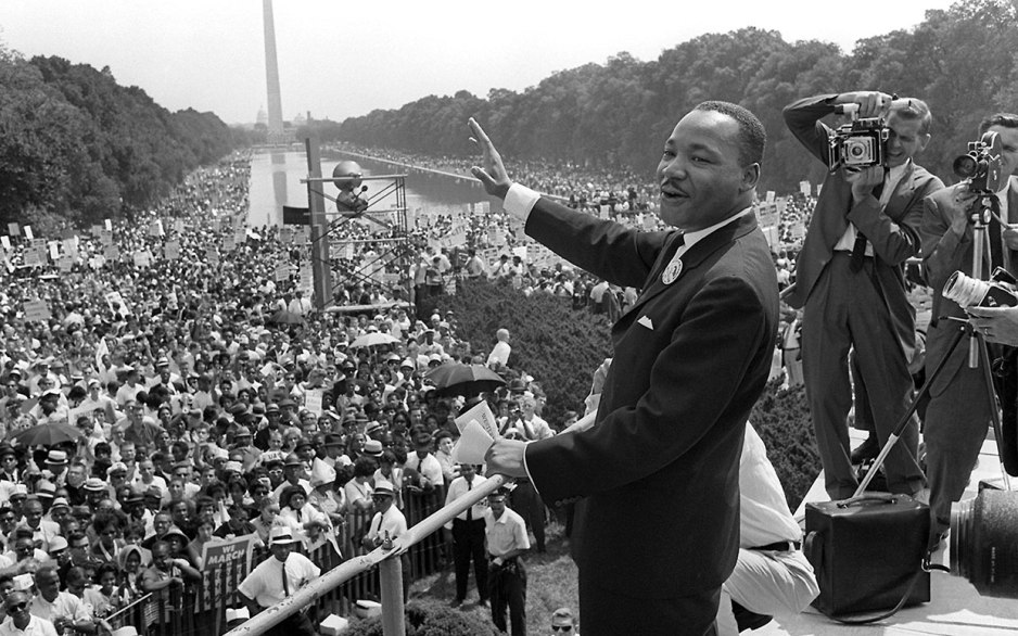 King on the footsteps of the Lincoln Memorial on the 28th August 1963