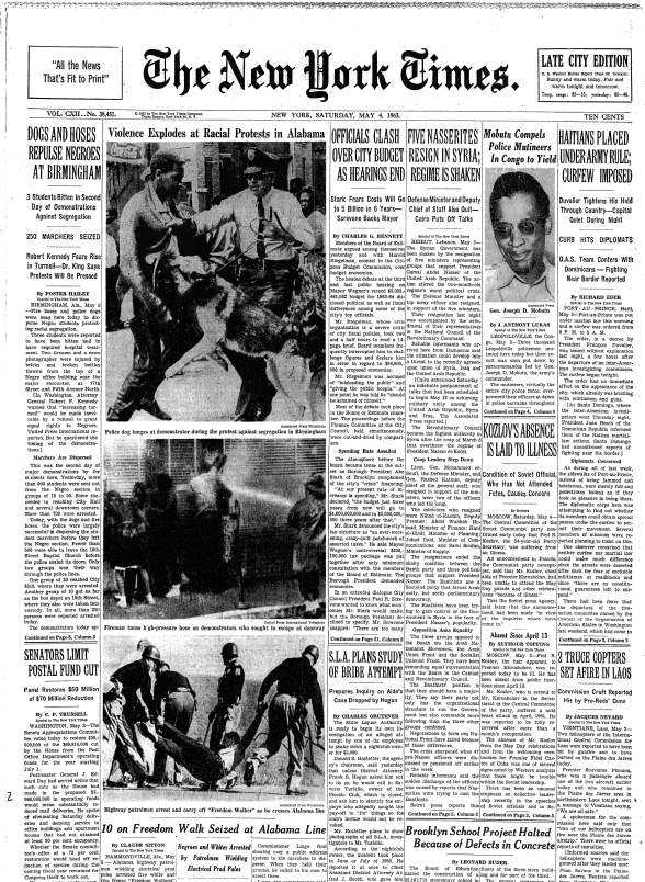 The New York Times cover of May 4th 1963 that sparked change